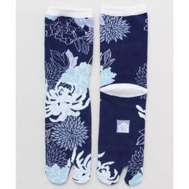 【カヤ】足袋型くつ下23~25cm 菊と牡丹 ブルー系その他