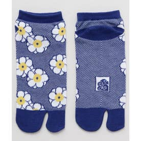 【カヤ】鹿の子編み足袋型くつ下23~25cm 梅 ブルー