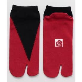 【カヤ】足袋型くつ下23~25cm 重ね色 ブラック×レッド