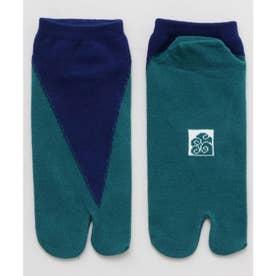 【カヤ】足袋型くつ下23~25cm 重ね色 ブルーグリーン