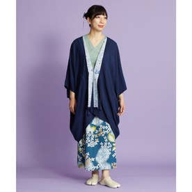 【カヤ】菊集め八掛羽織 UVカット加工 ネイビー