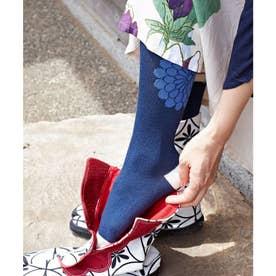 【カヤ】長丈足袋型くつ下23-25cm 菊紋 ホワイト×ブルー