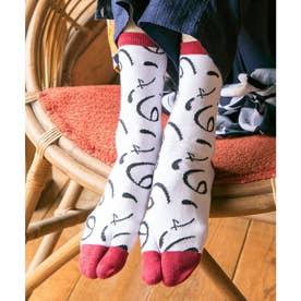 【カヤ】足袋型くつ下23-25cm ホワイト×レッド