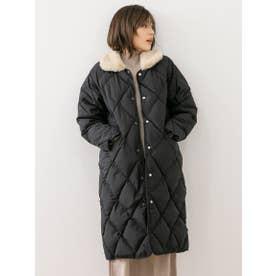 ファー付きステンカラーキルティングコート (ブラック)