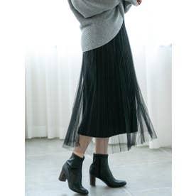ベロア+チュールリバーシブルスカート (ブラック)