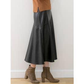 フェイクレザーフレアスカート (ブラック)