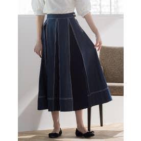 タックプリーツデニム切り替えスカート (ネイビー)