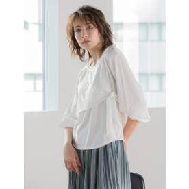 レイヤード風袖ボリュームカットソー (オフホワイト)