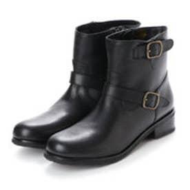 【本革】Wベルト飾りショートブーツ (ブラック)