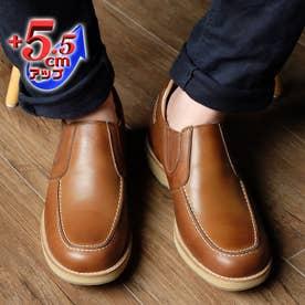 【5.5cmアップ】牛革カジュアル'70スリッポンサイドゴア シークレットシューズ  本革日本製 No.523 (チョコ)
