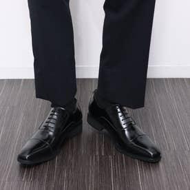 ビジネスシューズ メンズドレスシューズ ストレートチップ 紳士靴 革靴 牛革 日本製 幅広 3E 大きいサイズ No.K1010 (ブラック) (ブラック)