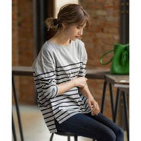 ボーダーシンプルカットチュニック【パネル】 [C3864] (グレー×ブラック)ゆったり 体型カバー Tシャツ ロングTシャツ チュニック 大きめサイズ