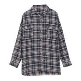 オーバーサイズチェックシャツ [C4034] (ネイビー×ブラウン)