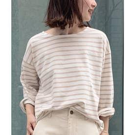 ゆるチュニックTシャツ [C4452] (オフ×ベージュ)