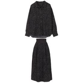 【2点セット】シャツ+スカートセットアップ [E2390] (ドットブラック)