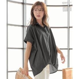 裾タックゆったりシャツ [C4770] (ブラック)
