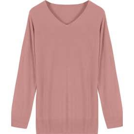 選べる9タイプ カシミアタッチニット【Vネックチュニック】 [N555] (ピンク)