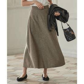 Aラインヘリンボーンスカート [M3026] (ブラウン)