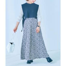 [ 田中亜希子さんコラボ ] ロングフレアスカート [M3190] (花柄アイボリー)