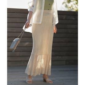 透かし編みロングニットスカート [M3201] (アイスベージュ)