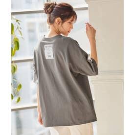バックロゴプリントTシャツ [C5334] (チャコール)