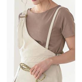 【透けにくい】前身二重半袖Tシャツ【Bネック】 [C3654] (グレージュ)