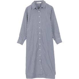 ベーシックシャツ【ワンピース】 [C3815] (ストライプネイビー)