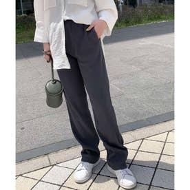 リブスリムストレートパンツ【アンクル】 [M3280] (チャコール)