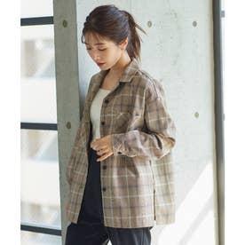 チェック柄ジャケットシャツ [C5645] (ブラウン)