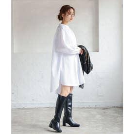 バンドカラーシャツミニワンピ-ス [E2923] (ホワイト)