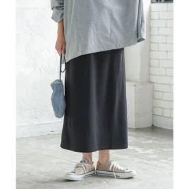 [ 選べる2丈 ]スウェットIラインスカート【ロング】 [M3470] (ブラック)