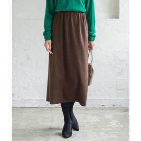 [ 選べる2丈 ]スウェットIラインスカート【ロング】 [M3470] (ブラウン)