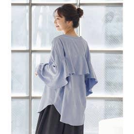 バックフリルバンドカラーシャツ [C5793] (ブルー)