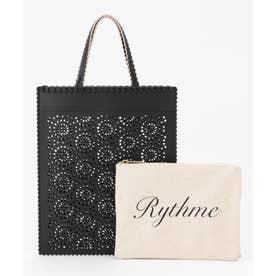 【Rythme KUMIKYOKU】ポーチ付きパンチング トートバッグ (ブラック系)