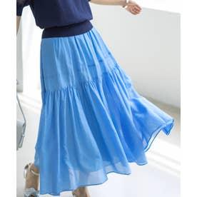 【レングスを選べる!】コットンシルクローン ティアードスカート(KK36) (サックスブルー系)