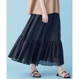 【Rythme KUMIKYOKU】コットンシルクローンティアード スカート (ブラック系)