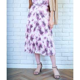 【洗える】グラデーションフラワー プリーツスカート (ピンク系5)