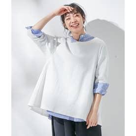 【東原亜希さん着用・KMKK】コットンフライス Aラインカットソー(KK26) (ホワイト系)
