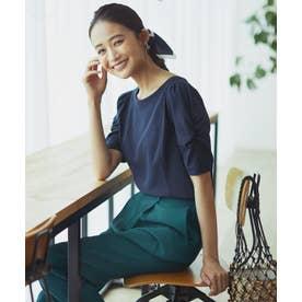 【洗える】コットンフォルム Tシャツ (ネイビー系)