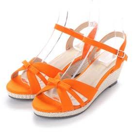 SFW シルエットと履き心地を追求したウエッジヒールストラップ美脚サンダル/5551 (オレンジ)