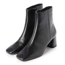 【大好評】スクエアトゥチャンキーヒールショートブーツ(0306) (ブラック)