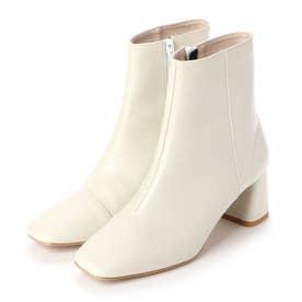 【大人気】スクエアトゥチャンキーヒールショートブーツ(0306) (ホワイト)