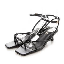 クロスストラップサンダル(0424) (ブラック)