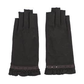 婦人 ジャージ手袋 指切り (ブラック)