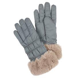 婦人 カジュアル手袋 五本指 (グレー)