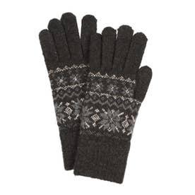 婦人 ニット手袋 五本指 (チャコール)