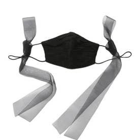 巾着付リボンマスクセット【返品不可商品】 (BLK)