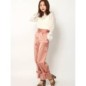 裾絞りパンツ ピンク