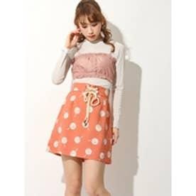 レトロ鏡柄台形スカート オレンジ