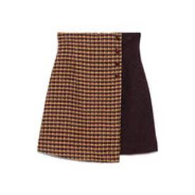 ツイードチェック台形スカート (イエロー)